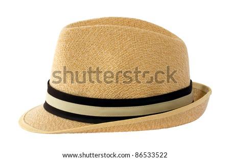 Summer panama straw hat isolated on white - stock photo