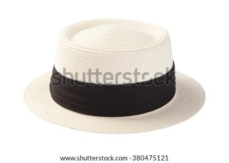 Summer panama straw hat isolated on white background - stock photo