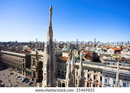 Summer panorama from Duomo roof, Milan, Italy - stock photo