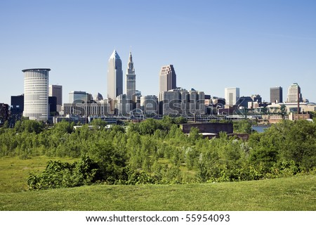 Summer panorama of downtown Cleveland, Ohio. - stock photo