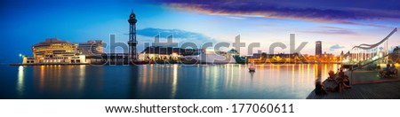 Summer panorama of Port Vell in sunset. Barcelona, Catalonia