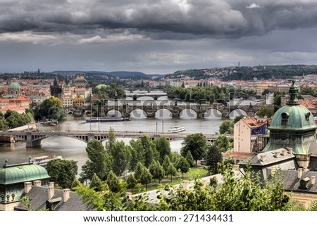 Summer panorama of Prague, Czech Republic - stock photo