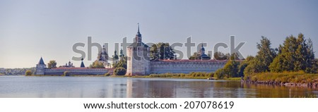 Summer panorama of St. Cyril of Beloozero's Monastery, the largest monastery of Northern Russia - stock photo
