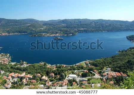 Summer Panoramic View on Orta Lake near Pella (Italy)