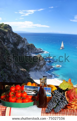 Summer paradise with food and boat - stock photo