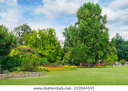 summer park, green meadow and blue sky - stock photo