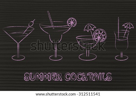 summer party: different style of drink glasses with straws, coktail umbrellas and lemon slices