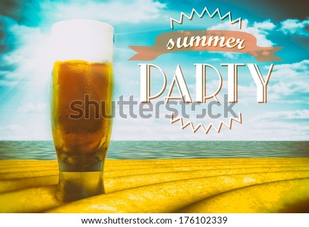 Summer party sign with beer glass on beach - stock photo
