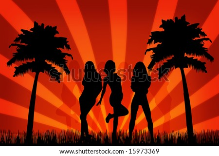 Summer party with beauty silhouette girls.