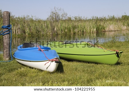 Summer Pastime -- Kayaks ready for the water - Rockford, Michigan, USA - stock photo
