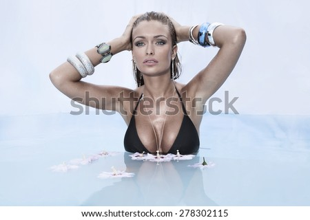 Summer photo of beautiful sexy woman. Beauty portrait. - stock photo