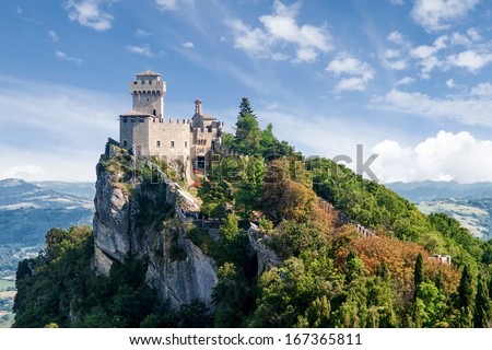 Summer photo of San Marino second tower: the Cesta or Fratta - stock photo