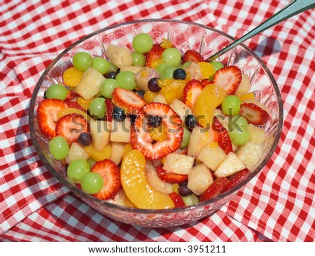 Summer Picnic Healthy Fruit Salad - stock photo