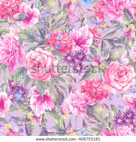 Summer pink hand drawing watercolor floral seamless pattern with blooming flowers peonies, roses, daisies, flower buds, violet, butterfly, decoration flowers natural illustration - stock photo