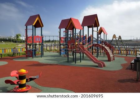 summer playground without children - stock photo