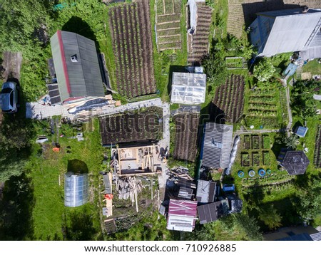 Summer plots with barns and kitchen-garden are in a coniferous forest in Karelia, Russia. Top view