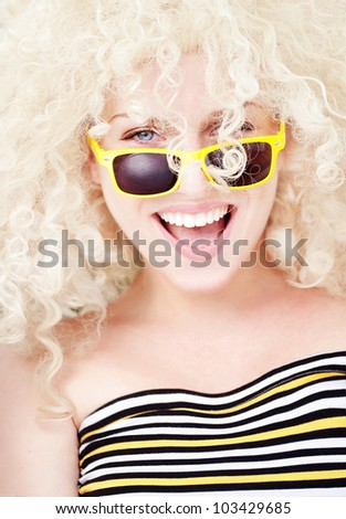 Summer portrait of a cheerful girl - stock photo