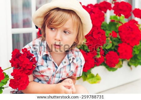 Summer portrait of a cute toddler boy sitting between beautiful red Begonias - stock photo
