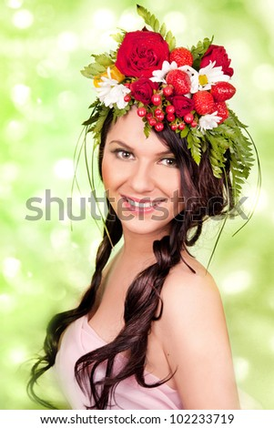 summer portrait of a smiling girl - stock photo