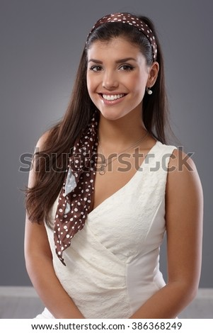 Summer portrait of attractive young woman smiling happy. - stock photo