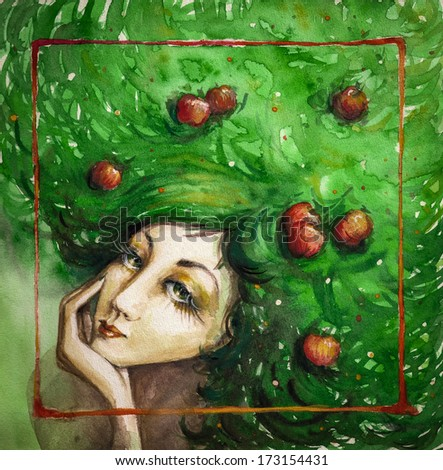 summer.Portrait of beautiful woman with apples in her green hair.Picture created with watercolors. - stock photo