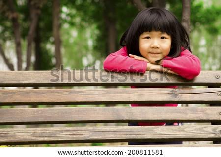 Summer portrait of happy cute child - stock photo