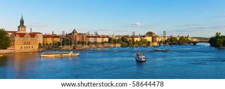 Summer Prague panorama - stock photo
