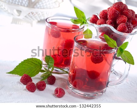 Summer raspberry cold drink (juice, cocktail, fruit tea) with mint on ...