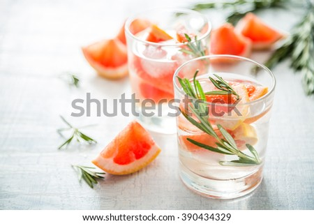 Summer refreshing drink and ingredients, copy space - stock photo
