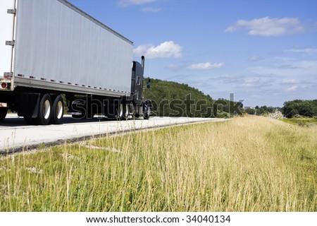 Summer Ride - semi on the road - stock photo
