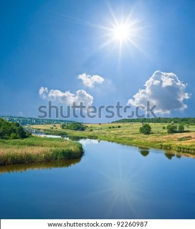 summer river - stock photo