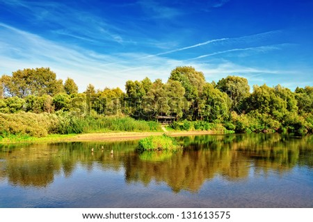 Summer river landscape - stock photo