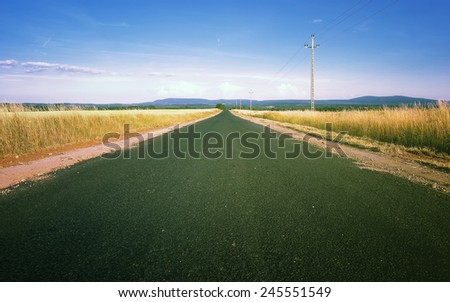 Summer road / Country road in Hungary - stock photo