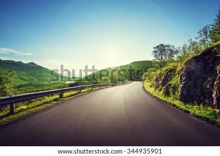 summer road in mountain, Lofoten islands, Norway - stock photo