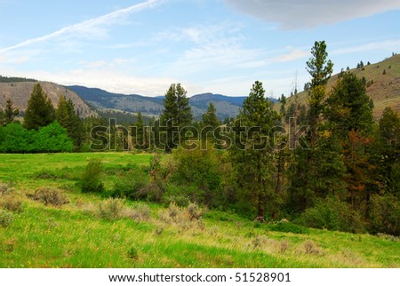 Summer roadside view of mountains and meadows in british columbia, canada - stock photo