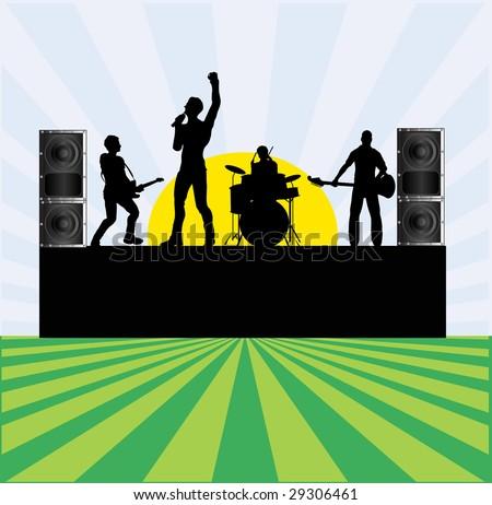 Summer Rock Festival Bitmap Background - stock photo