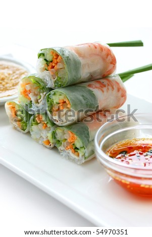 Summer Roll , Salad roll , Fresh Spring Roll , Vietnamese Food - stock photo