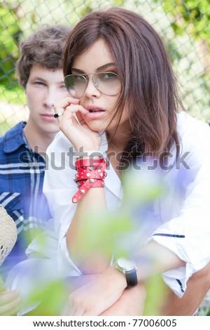 Summer romance. Focus on the girl - stock photo