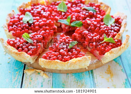 summer round tart with currants, food closeup - stock photo