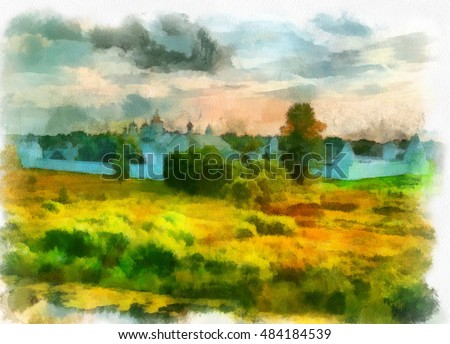 summer rural landscape with a view of the Church