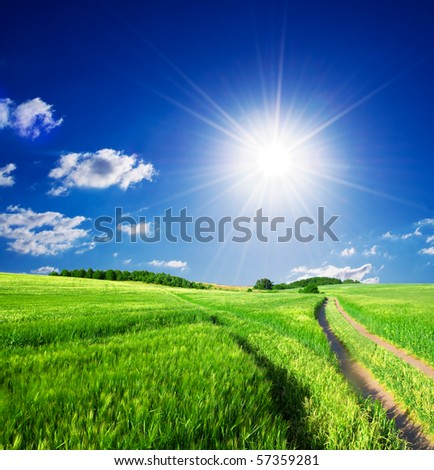 Summer rural landscape with sunny blue sky - stock photo