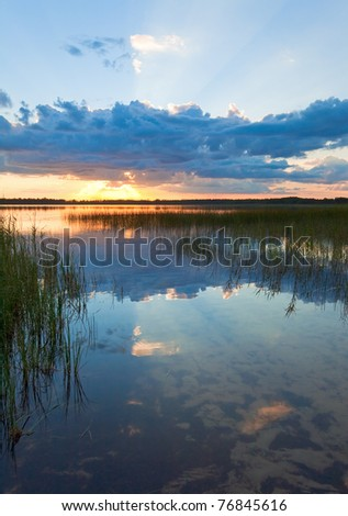 Summer rushy Lake sunset view with cloud reflections in water surface