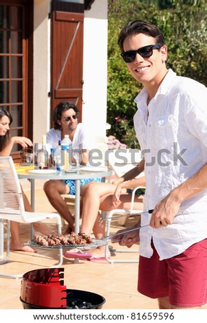 Summer's barbecue with friends - stock photo