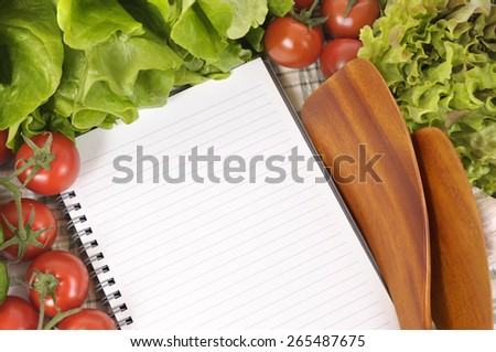 Summer salad vegetable, recipe book, copy space, top view - stock photo