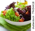 Summer salad with green and red lettuce - stock photo
