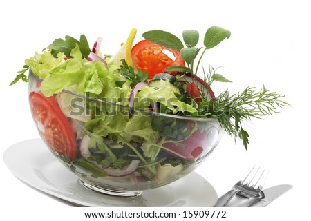 summer salad with herb isolated on white background