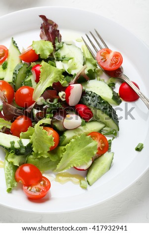 summer salad with radish, food close-up - stock photo