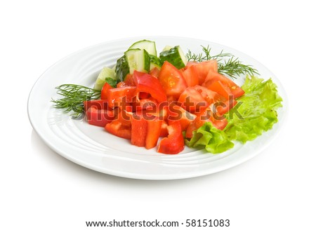Summer salad with tomato, cucumbers, red pepper and lettuce. Isolated on white by clipping path. - stock photo