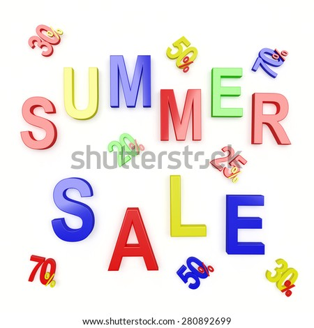SUMMER SALE and different percent discount isolated on white background