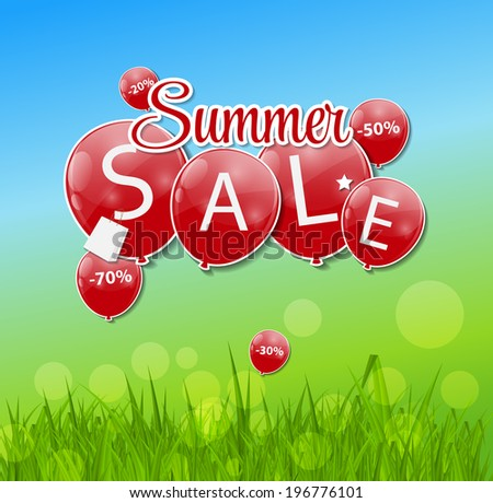 Summer Sale Concept.  Illustration. - stock photo